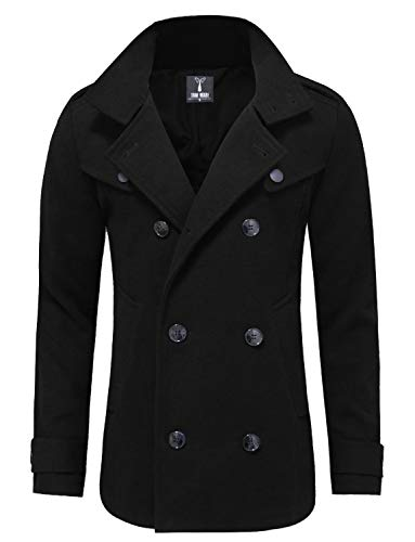 TAM WARE Mens Classic Wool Double Breasted Pea Coat TWCC06-BLACK-US L