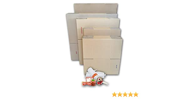 Cajas Cartón para Mudanzas (Pack GRAN MUDANZA de 60 Cajas + Accesorios) - Cajas de Canal Simple, Doble y de Color Marrón. Fabricadas en España.
