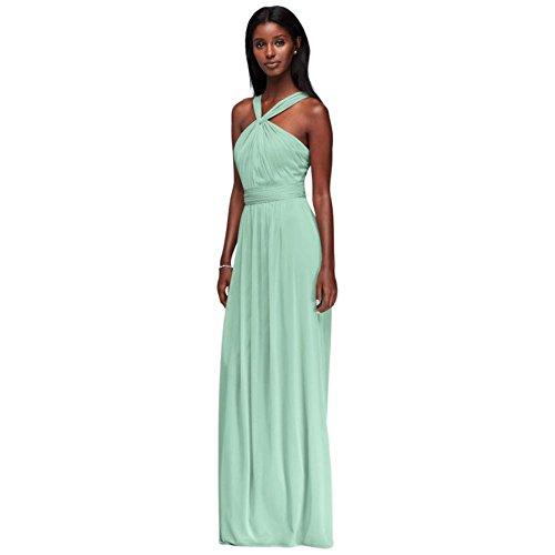David's Bridal Y-Neck Long Mesh Bridesmaid Dress Style W11173, Mint, 0]()