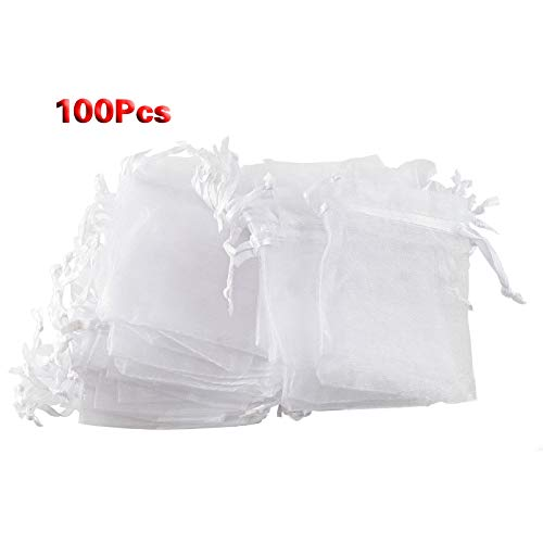 Wedding Favor - 100pcs White Eyelash Organza Drawstring Pouches Jewelry Party Wedding Favor Gift Bags 4 Quot X5 - Religious Pink Tags Personalized Luggage Knives Theme Ring Gifts Honey Rose