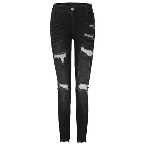2019 Women's Ankle Skinny Jeans,Hight Waisted Ripped Jeans Women Skinny Hole Denim Jeans Destroyed Slim Pants (XL, Black)