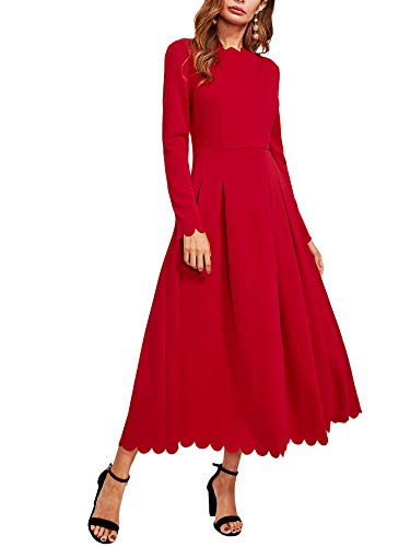 Milumia Womens Scallop Trim Neck Edge Long Sleeve Boxed Pleated High Waist Long Dress