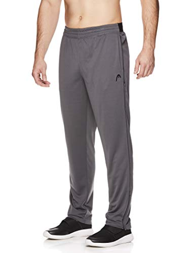 HEAD Men's Running Pants - Performance Jogging Workout & Training Sweatpants w/Zippered Pockets - Lead Iron Gate, Large