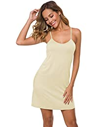304b7cdd0c4d7 Women's Basic Adjustable Spaghetti Strap Cami Slip Mini Dress