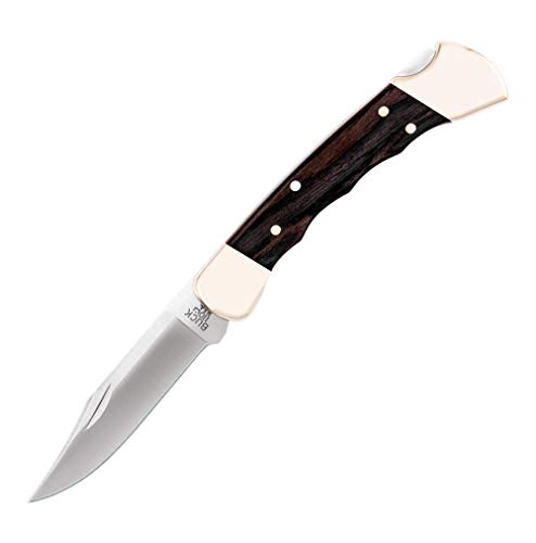 Buck Knives 110 Folding Hunter Knife with Finger Grooves and Leather Sheath,Brown