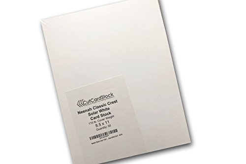 Neenah Classic Crest 110# Cover Solar White 8.5x11 - 50 - Recycled Materials 80%