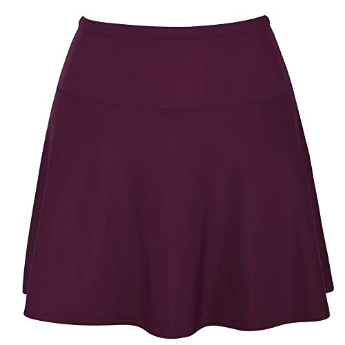 Hilor Women's High Waisted Swim Bottom Athletic Swimsuits Tankini Skirt with Panty Burgundy ()