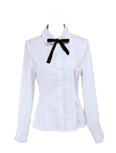 Lolita Papillon Coton pour Chemisier Noir Victorien Simple Blanc Noeud Femme Dentelle Oxq5Tdw8Z
