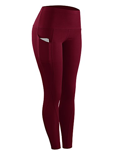 Neleus 2 Pack Tummy Control High Waist Running Workout Leggings,9017,2 Pack,Red,Rose Red,US S,EU M by Neleus (Image #4)
