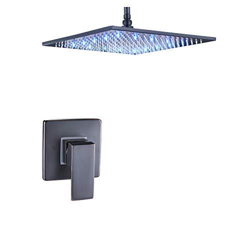 Rozin Bathroom Ceiling Mounted Shower Set LED 16-inch Rainfall Showerhead with Single Handle Control Mixer Valve ORB Finish