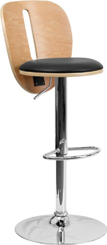Flash Furniture Beech Bentwood Adjustable Height Barstool with Black Vinyl Seat and Cutout (Beech Stool)