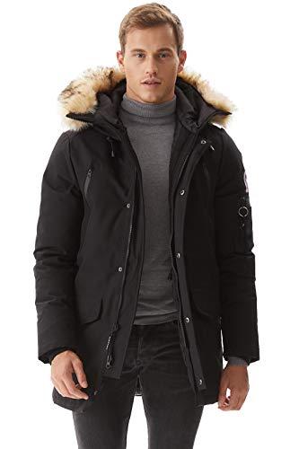 Molemsx Down Coats for Men, Men's Winter Jacket Warm Parka Puffer Jacket Winter Down Jacket with Hood Faux-Fur Trim Black Large