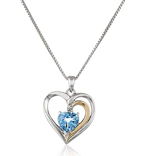 Sterling Silver Heart Pendant Necklace 16 inch Two-Tone Blue Topaz Necklace Great Gift SSNK16-25S