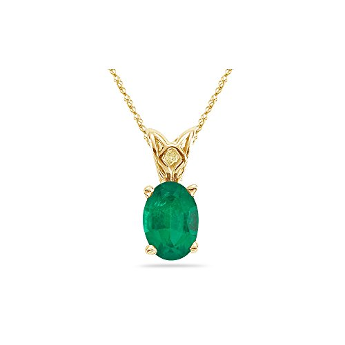 - 0.55-1.10 Cts of 7x5 mm AA Oval Natural Emerald Scroll Solitaire Pendant in 14K Yellow Gold - Valentine's Day Sale