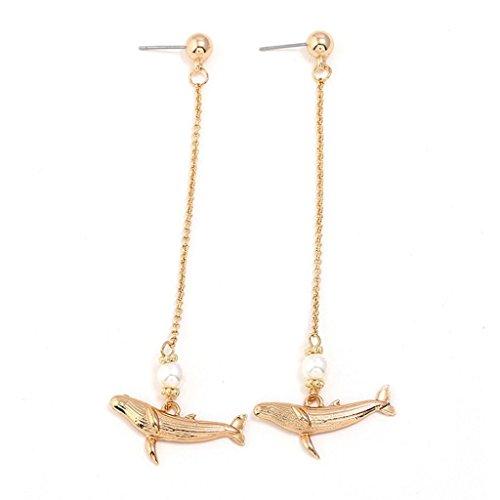 (Creazrise Women Dangle Earrings Elegant Pearl Dolphin Long Simple Earrings)
