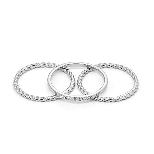 Sterling Silver Cubic Zirconia Twist Braid Stackable Band Rings, Set of 3, Size 8 ()