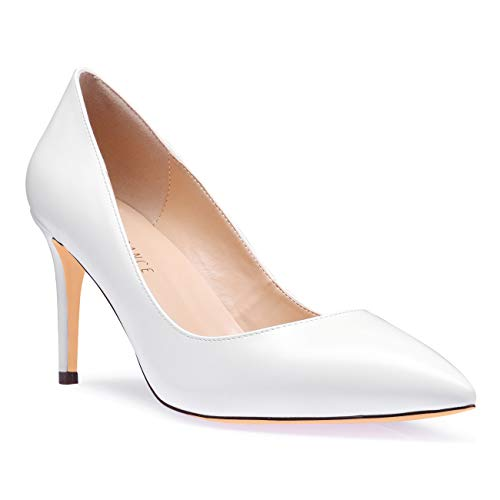 SUNETEDANCE Pumps Shoes Women Slip On Comfort Classic Heels Office Business High Heels Pointed Toe Stiletto 8CM Heel Shoes PU White Pump 13 M US]()