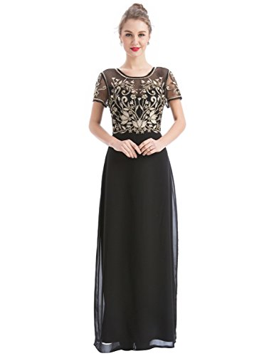 Evening Prom Party Formal Gown - MANER Women's Fashion Chiffon Tulle Beaded Embroidered Long Evening Gowns Prom Party Dress (L, Black/Apricot)