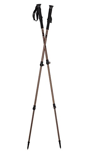 Two Trekker Gold Standard Hiking Poles Telescoping Collapsible Sticks for Backpacking Trekking Walking or Trail Hikes 1 Pair