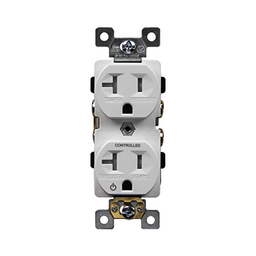 (ENERLITES Plug-Load Control Duplex Receptacle Outlet, Tamper-Resistant, Commerical Grade, Self-Grounding, 2-Pole, 3-Wire (Copper Only), 20A 125V 60Hz, UL Listed, 62080-TR-PLH-W, White)