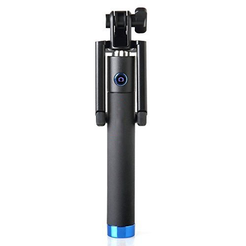 SahiBUY Elegant Black Pocket Selfie Stick With AUX Wire to Click For Apple & Android Mobile Phones