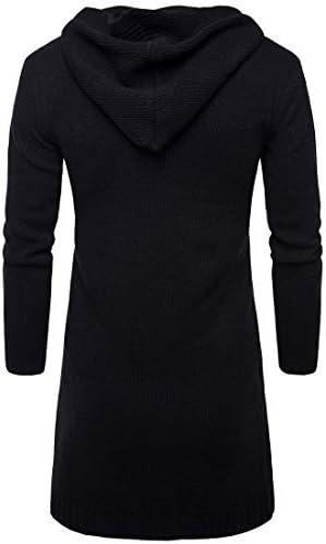 Beeatree メンズセーター ロングスリーブ オープン フロント 厚いフード付きニット カーディガン