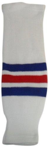 New York Rangers Womens Socks - DoGree Hockey New York Rangers Knit Hockey Socks, White/Royal/Red, Adult/32-Inch
