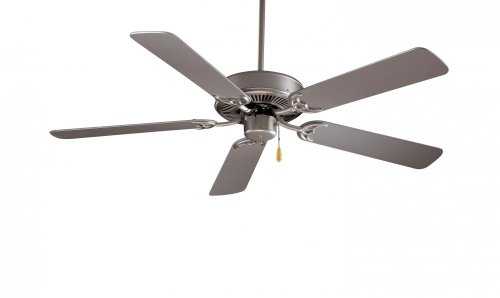 Minka-Aire F546-BS Downrod Mount, 5 Grey Blades Ceiling fan, Brushed Steel Silver