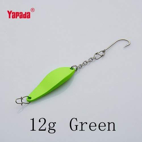 CUSHY YAPADA Fishing 508 Beetle 8g/12g Single 41mm/48mm Multicolor Metal Jigging Spoon Fishing Lures : Green 12g