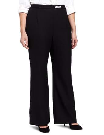Pendleton Women's Plus-Size Wool Crepe Soft Pant, Black Worsted Crepe, 18W
