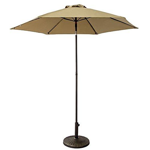 FLAME&SHADE 7.5 ft Small Outdoor Patio Table Umbrella Parasol with Push Button Tilt, Beige (Parasol Tilting)