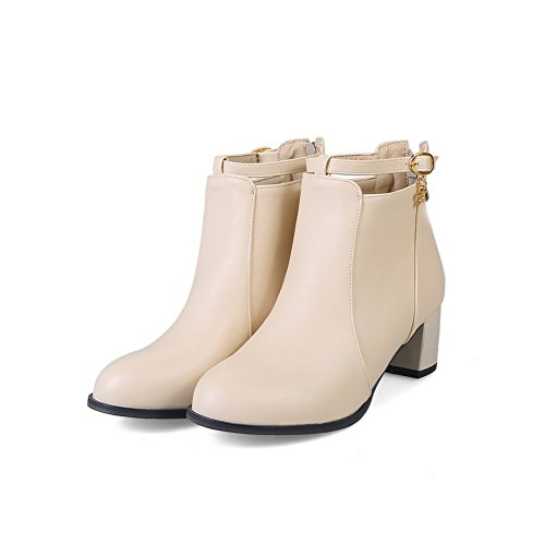 BalaMasa Womens Slip-Resistant Buckle Pointed-Toe Urethane Boots ABL09893 Apricot vh0PL