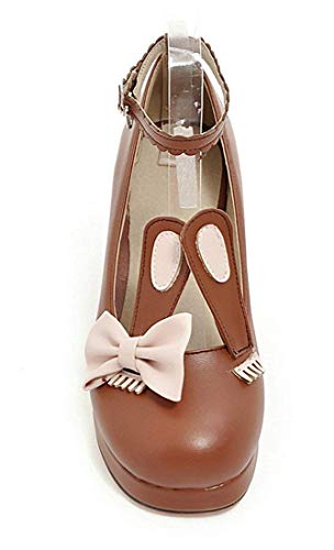 Sangle Femme Cheville Chaussures Cheville Lapin Animal Marron Vitalo Plateau Sangle Mignon XH5qwA