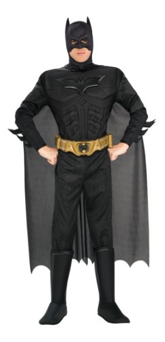 Batman Dark Knight Costumes Adults (The Dark Knight Batman Deluxe Muscle Chest Costume, Black, Medium)