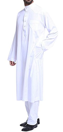 KLJR-Men Stand Collar Long Sleeve Pocket Muslim Arab Thobe with Pants Outfits White US M by KLJR-Men