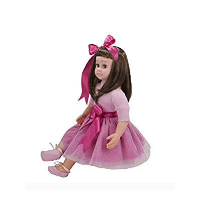Ask Amy 22 Inch Lifelike Baby Dolls for Toddlers, 3 Year Old Girls, Kids Children Learning Toys, Interactive Talking, Singing, Educational Smart Doll Brunette Pink Sparkles Dress: Toys & Games