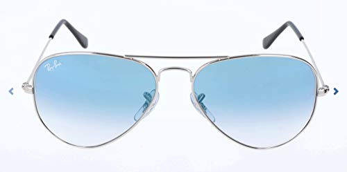 Ray-Ban RB3025 Aviator Sunglasses, Silver/Blue Gradient, 55 mm