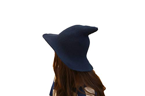 mettime US Womens Fashions Cute Wool Big Brimmed Witch Pointed Hats Knitted Wizard's Solid Color Bucket Cap (Navy Blue)