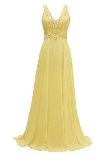 - V-Neck Bridesmaid Dresses Long Beaded Chiffon Lace Beach Wedding Aline Evening Gowns for Women Yellow Size 12