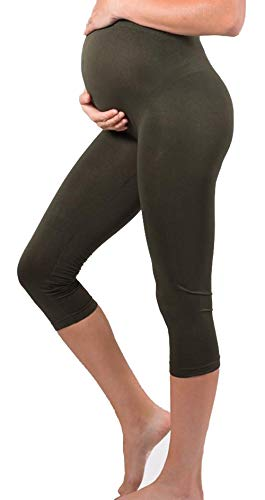 Shop Pretty Girl Maternity Capri Leggings Over The Belly Stretch Nursing Clothes Tights Pants (One Size Fits All (Maternity), Black)