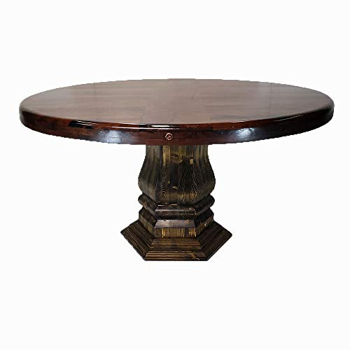 Rustic Dining Table with Elegant Wooden Base and a Mesquite Wood Top Embellished with Red Coral Inlay ()