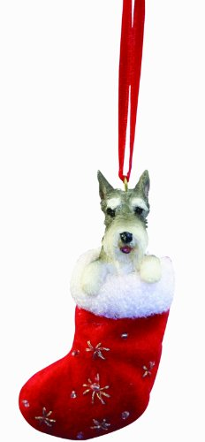 Schnauzer Christmas Stocking Ornament with