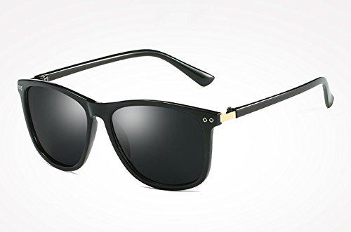 gold Mujer Moda TL de Alta Sol de Sol Gris black Gafas polarizadas Femenino gray de Sunglasses Calidad Hombre Negro Gafas Sol Masculino de Espejo Gafas Espalda ZrwrSqYv