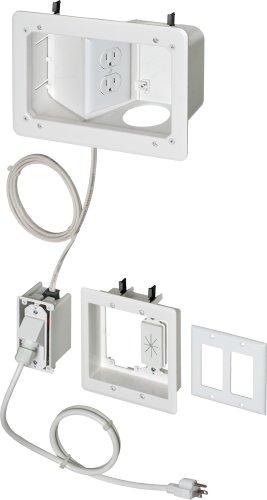 (Arlington TVB712BK-1 Angled Box In-Wall Wiring Kit, Pre-Wired TV Bridge, 2-Gang, White,)