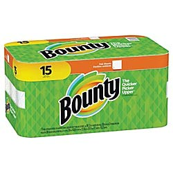 "Bounty 2-Ply Paper Towels, 11"" x 10 1/4"", White, Pack of 15 Rolls"