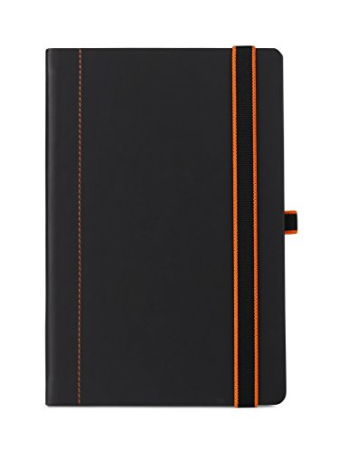 UberWorks SCHNEIDER Black Hardcover Notebook with Orange Thread Cover Stitching & Two Color High-Strength Elastic Pen Loop Holder, Medium A5 Lined/Ruled Bullet Journal Organizer price