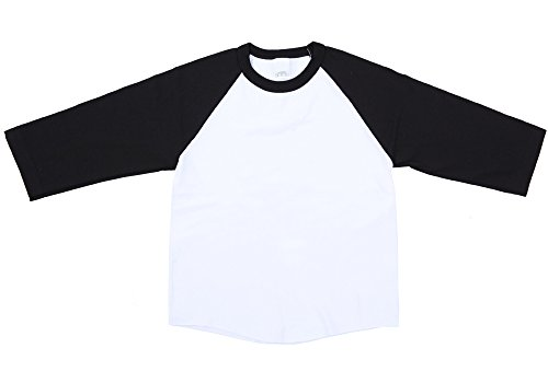 White Baseball T-shirt (Ola Mari Unisex Kids Raglan Baseball T Shirt Top, Small, White/Black)