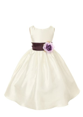 - Kid's Dream Girl's Elegant Simple Polysilk Dress-ivory-8