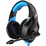 RUNMUS Gaming Headset PS4 Headset with 7.1 Stereo Surround Sound, Xbox One Headset with Noise Canceling Mic, Works on PC, PS4, Xbox One (Adapter Needed), 4351082666, Blue