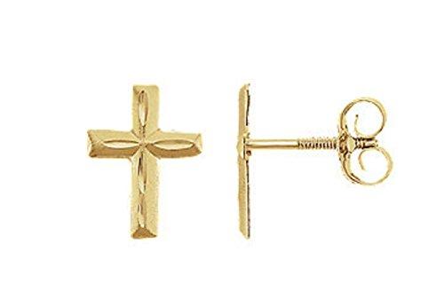 Baby 14k Cross Gold (14K Yellow Gold Dainty Cross Stud Earrings for Girls Woman Teens Hypoallergenic Jewelry)
